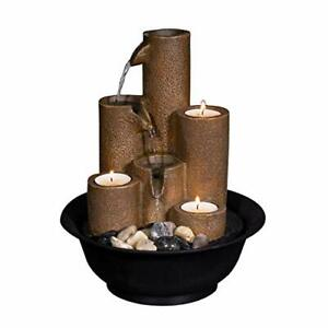 Tiered Column Tabletop Fountain w/ 3 Candles, 11 Inch Tall, Brown