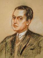 Superbe sanguine portrait homme années 1920 - 1930 Art Déco dessin original