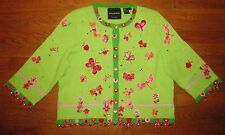 MICHAEL SIMON RARE SPARKLING BUTTERFLY SWEATER L LARGE BEADED INCREDIBLE DETAIL