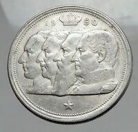 1950 BELGIUM Kings Leopold I II III & Albert I Silver 100 Francs Coin i62892