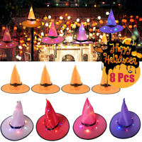 8PCS Halloween Witch Hats LED Lights Light Up Outdoor Hanging Decor Caps Gift