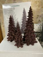"""Dept 56 Village Accessories Set Of 3 Brown Holiday Trees 9"""" 7"""" 5"""" Tall Christmas"""