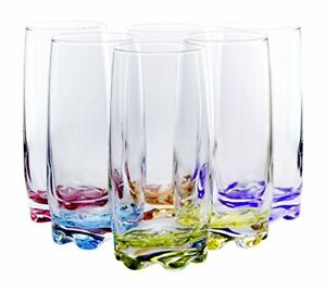 Multicolor Vibrant Splash Water Beverage Highball Glasses, 13.25 oz, Set of 6