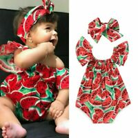 Toddler Infant Baby Girl Floral Romper Bodysuit Jumpsuit&Headband Clothes Outfit