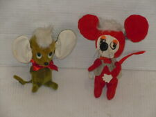 New listing Vintage 1966 Kamar Green Mouse & Herman Pecker Red Mouse Stuffed Plush Toy Cute