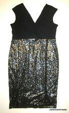 LANE BRYANT Womens PLUS 18 2X Sleeveless Black Wrap Sequined DRESS Sexy