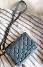 NWT ZARA BLUE QUILTED LEATHER CROSS BODY BAG STUDDED CHAIN MESSENGER 4115/104