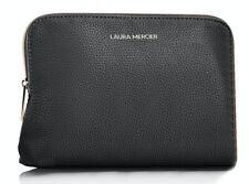 LAURA MERCIER black large faux LEATHER COSMETIC MAKEUP cosmetic BAG pouch case
