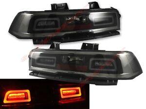Set of Pair Chrome Smoke LED Taillights for 2014-2015 Chevrolet Camaro