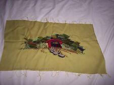 "Vintage Crewel Completed Needlework ~ ""COVERED BRIDGE"""