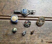 Vintage Masonic Pin Lot / 50 year Grand Lodge, Mahi, Eastern Star, Cross & Crown