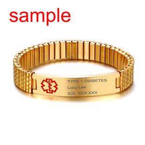 Spring Women Men Medical Alert ID Stretch Bracelet 18K Gold Plate Free Engraving