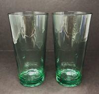 2 Vintage Libbey Duratuff  Spanish Green Tumbler Tall Iced Tea Glasses