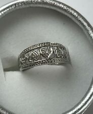 New 14 K White Gold Filigree Heart Diamonds Ring Wedding Band size 7