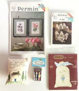 Permin & Semco Embroidery Bundle - Flower Picture - 15 x 20cm, Clove Sachet etc