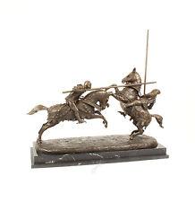 Bronze Skulptur Kämpfende Ritter / Reiter Figurenpaar neu 99937639-dss