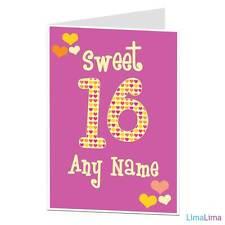 Personalised Felice 16th Compleanno Carta SWEET 16 oggi stesso per sua figlia, aggiungi nome