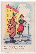 CPA illustrateur Humour - drague, l'As des As, soldat militaire 1944