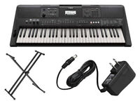 Yamaha 61-Key Touch Sensitive Keyboard w/ Double X-Style Stand & Power Adapter