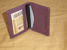 Purple Leather 1 Inside ID Slot Outside Open Pkt Student Small Wallet EZ Carry