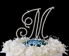 Silver Crystal Renaissance Monogram Wedding Cake Top Letters