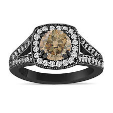 Champagne Brown Diamond Engagement Ring 1.58 Carat Vintage Style 14K Black Gold