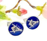 Sterling Silver Blue Enamel Masonic Freemasons Cufflinks