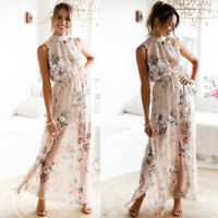 Women Chiffon Floral Print Sleeveless Backless Casual Boho Beach Long Maxi Dress