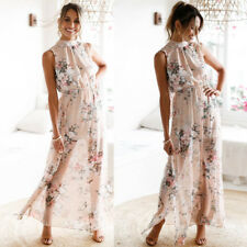 Women Chiffon Floral Print Sleeveless Backless Casual Boho Beach Long Maxi Dress XL