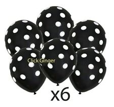 Black and White Polka Dot Latex Balloons (x6) Helium Mickey Mouse Decoration