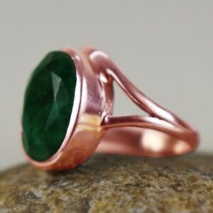 925 Sterling Silver Emerald Sz 2-14 Oval Handmade Wedding Ring Women GRS-1440