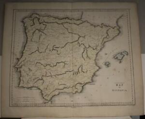SPAIN PORTUGAL GIBRALTAR 1850 GALL & INGLIS ANTIQUE ORIGINAL LITHOGRAPHIC MAP