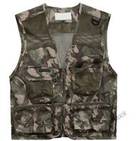 New Mens Outdoor Hunting Fishing Vests Multi Pocket Photography Waistcoats Size