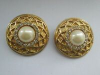 Vintage80s Clip On Earrings Gold Tone Faux Pearl Rhinestone Round Statement
