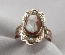 Antique Victorian HARDSTONE Agate CAMEO Seed Pearl RING Low Karat GOLD 2g Size 5