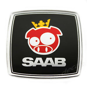 SAAB Rally Pig Black Chrome Square Custom Badge Emblem 3D Decal 93 aero 900 9 5