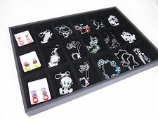 18 compartment Black Velvet charm bead chain earring Jewelry Display Case Tray