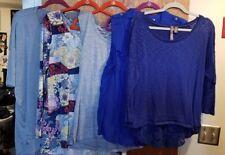 Lot of 5 Women's Xl Tops Blouses Blue Lularoe Rbx Roz & Ali Floral Multi Color