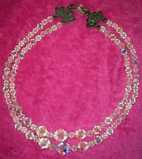 Vintage•LOVELY•Clear•Beaded•Crysta•Like•Multi•2•Strand•Necklace/Choker•FREE•SHIP