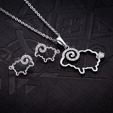 Women Girl Cute Rhinstone Crystal Sheep Lamb Pendant Necklace Chain Jewelry