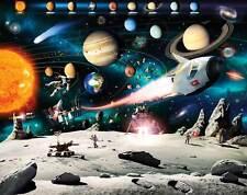 WALLTASTIC Fototapete Kinderzimmer Wandbild Weltraum Planeten Weltall Sonne Mond