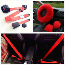 Classic Long Wool Steering Wheel/Gear Knob/Parking Brake Covers+3-Point Seatbelt