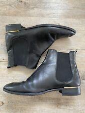 PORTA ROSSA BLACK ANKLE BOOTS GOLD TRIM ELASTIC SIDES Sz 41 10 10.5 (RRP$599)