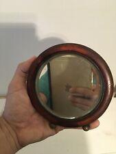 Antique Vanity Barber Shaving Beveled Round Mirror Wood