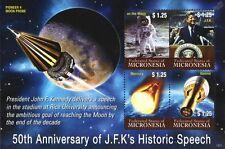 JFK KENNEDY Moon Speech/Gemini/Mercury/Pioneer 4 Space Stamp Sheet (Micronesia)