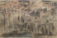 Fischer am Strand Hafen Kohle Pastell 1975 undeutlich signiert 30,5 x 46 cm