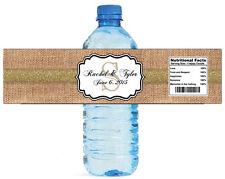 100 Burlap Gold Stripe Wedding Anniversary Engagement Party Water Bottle Labels