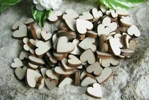 100 Holzherzen Streuteile, Hochzeit, Herz, 0,5-1,1cm, Dekoration, verzieren Deko