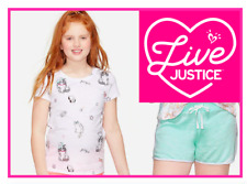 *NEW* JUSTICE GIRLS SIZE 8 COOL KITTY PRINT TOP N MINT GREEN SHORTS OUTFIT SET