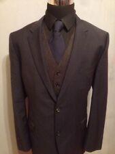 HUGO BOSS DIESELSTRASSE 12 Navy Blue Wool 2 Pc Flat Front Suit 48R 40W/30L
